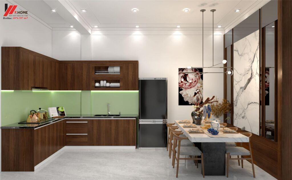Tủ bếp hình chữ L là mẫu tủ được nhiều khách hàng ưa chuộng